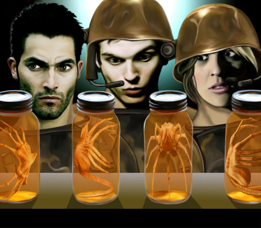 Derek, Isaac and Erica staring at facehuggers in glass jars of fluid