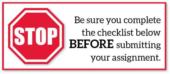 Before you submit an assignment check this list