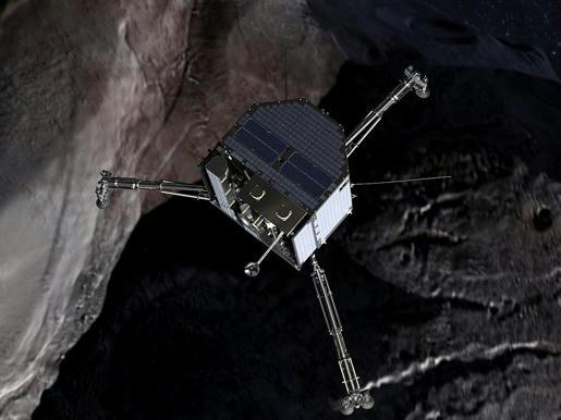 Philae-el-módulo-de-aterrizaje-de-la-sonda-espacial-Rosetta,-aterrizó-el-12-de-noviembre-de-2014-sobre-el-cometa-67P/Churiumov-Guerasimenko