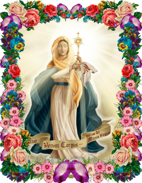 Virgen Maria con Jesus Eucaristia
