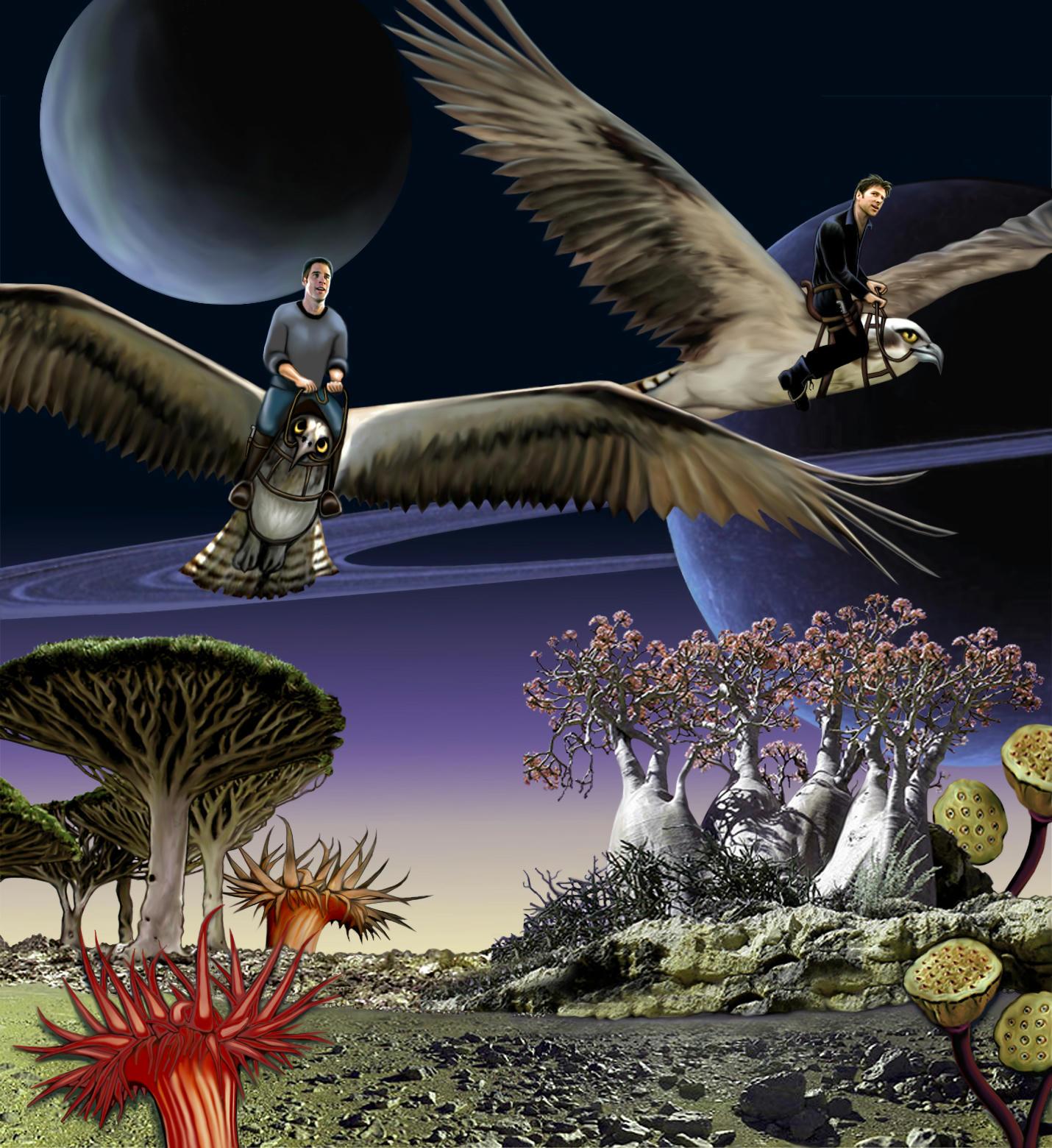 cam and john on backs of giant birds, over very alien planet