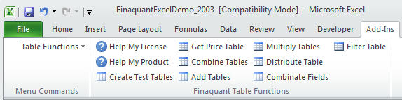 Finaquant in Excel after Installation