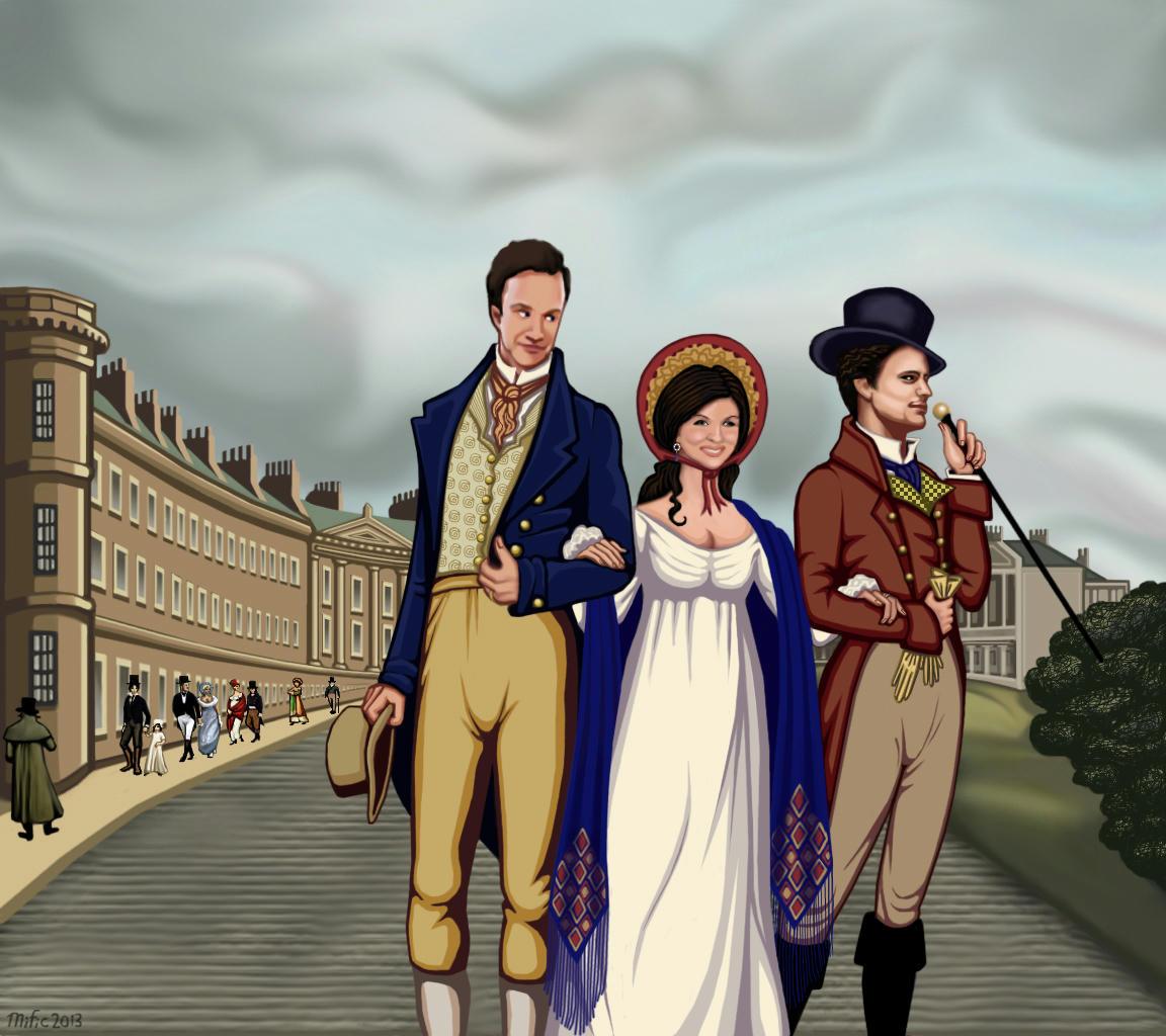 Peter, E, and Neal strolling through Regency England city vista.