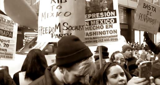 Con-carteles-vistosos-recibieron-a-Enrique-Peña-Nieto-en-su-visita-a-Washington,-43-estudiantes-de-Ayotzinapa-se-han-convertido-en-los-fantasmas-de-Scrooge-para-el-mandatario