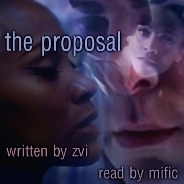 podfic cover - layered images spock and nyota