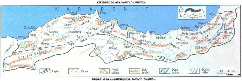 karadeniz morfoloji yüzey şekilleri haritası
