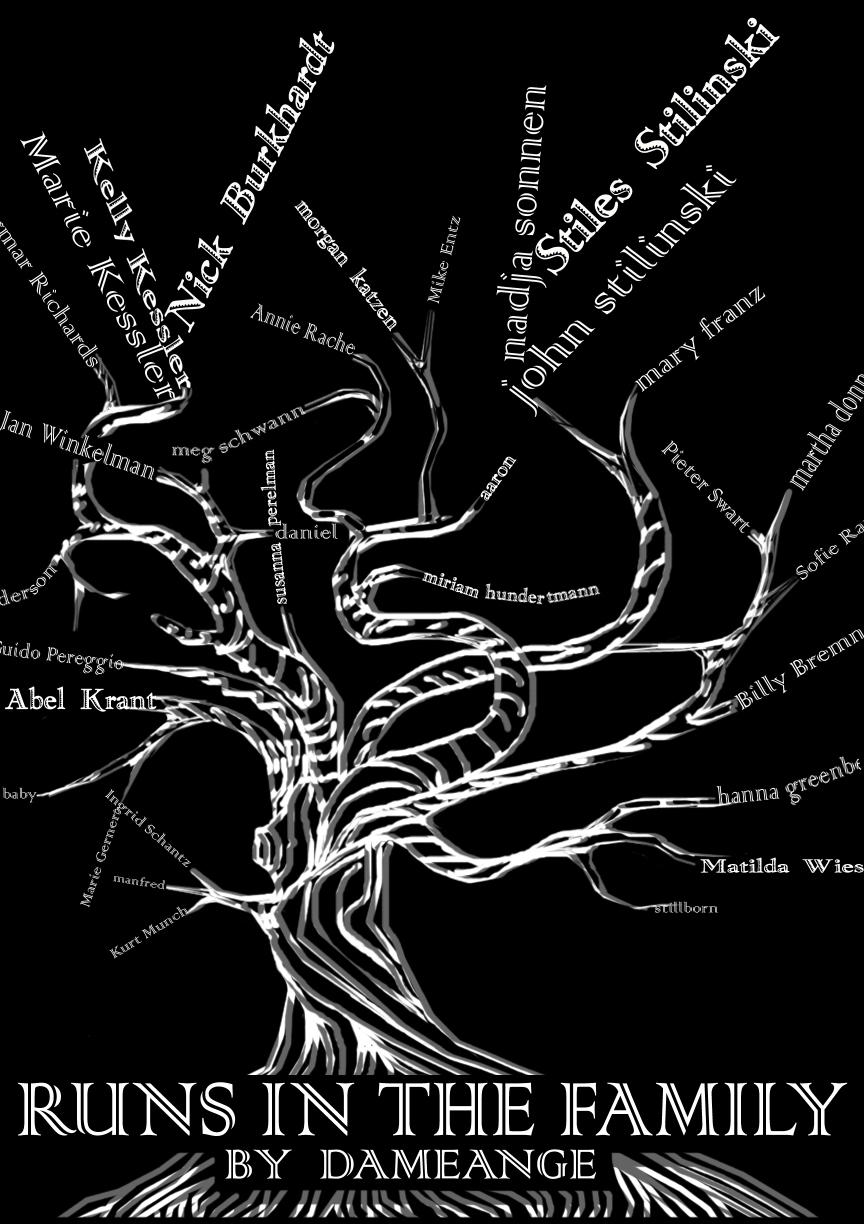 Black and white family tree with branches made of text names, including Stiles and Nick.