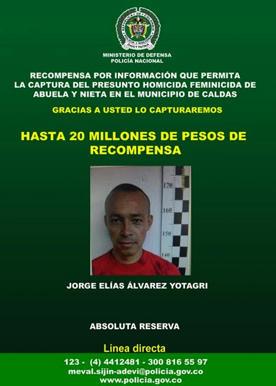 Jorge Elías Álvarez Yotagri, sería el autor de los horrendos crímenes de su hija Paula Nicole Álvarez Cuervo y la abuela de la menor