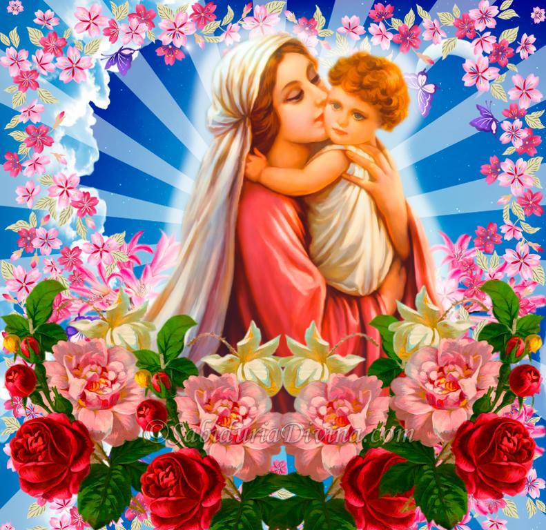 La Virgen Maria con el Niño Jesús y Angeles