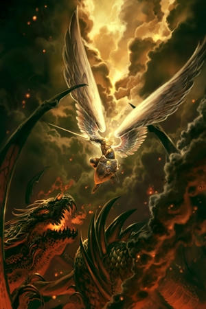 El dragón la antigua serpiente arrojado por Miguel y sus Angeles - divider10