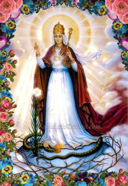 La Virgen Maria aplastando la cabeza de la serpiente, Satanás o demonio