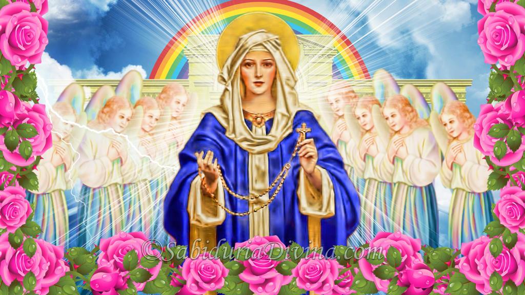El arma del Santo Rosario. Virgen del Rosariuo con flores