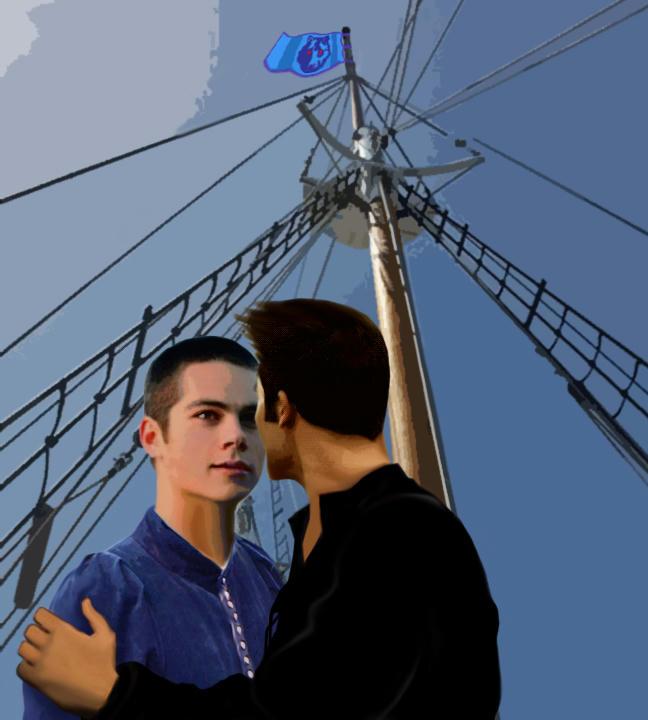 Stiles and derek on ship's deck, romantic scene.