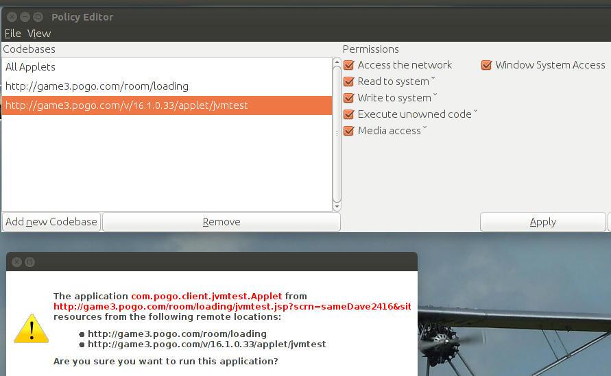 ubuntu] Pogo com : Making OpenJDK trust its Applets when