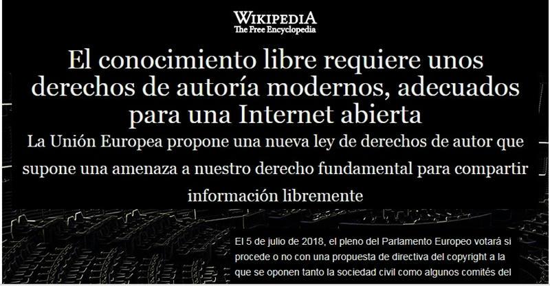 Wikipedia protesta contra propuesta de directiva sobre los derechos de autor