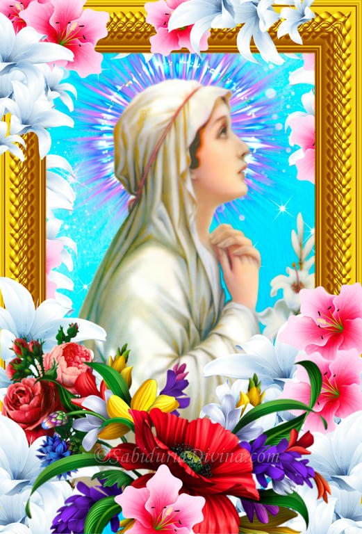 virgen maria con flores
