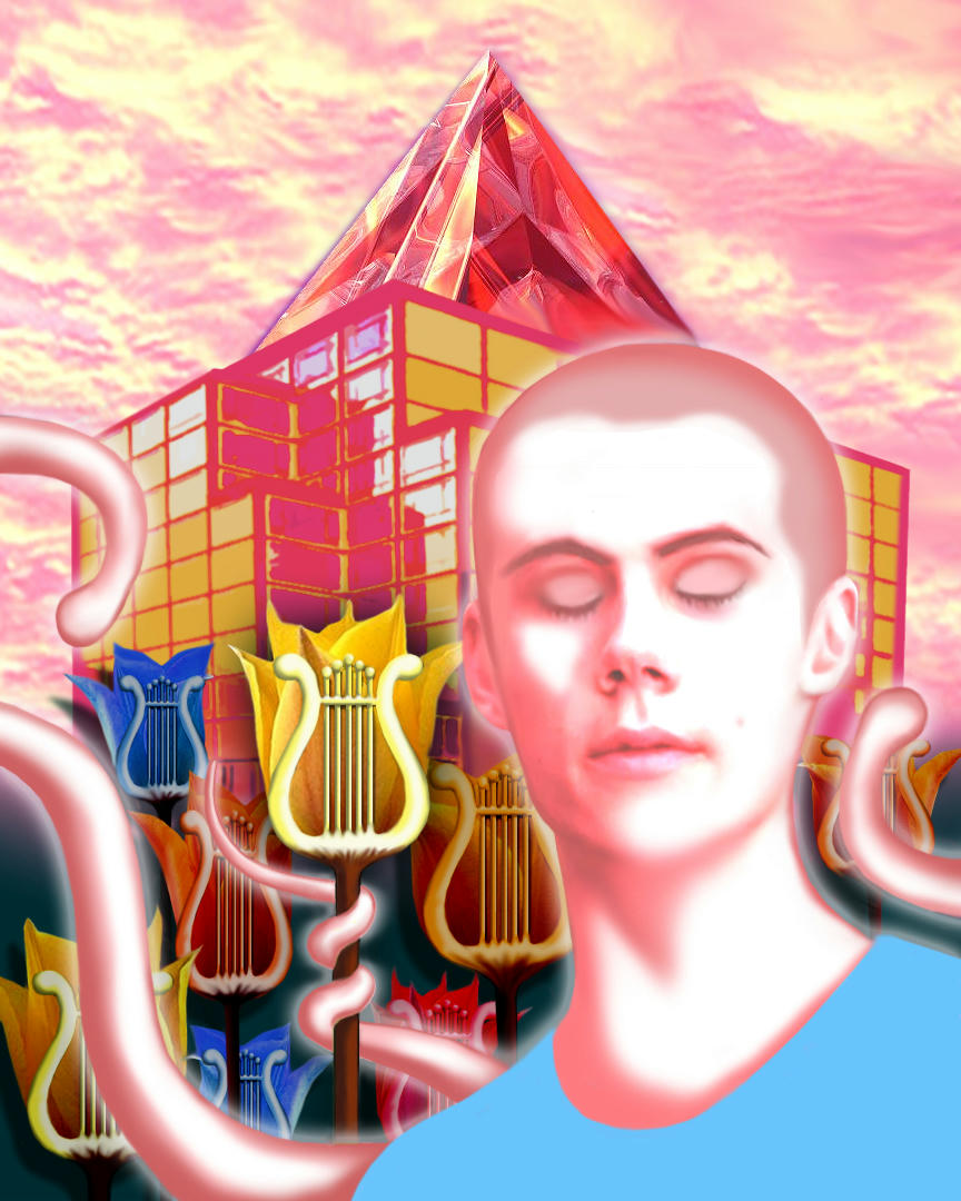Stiles surrounded by flowers like tulips or lyres, glass buildings behing and pink and apricot sky