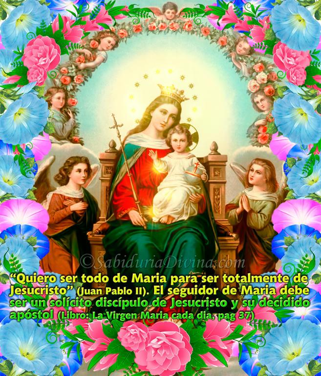 Maria Reyna del Paraiso, Madre de Dios con Angeles y flores (5)