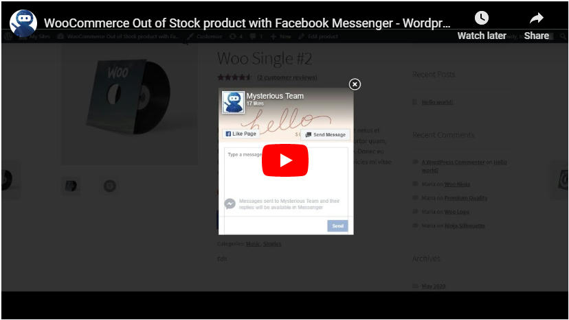 WooCommerce Out of Stock product with Facebook Messenger - 3